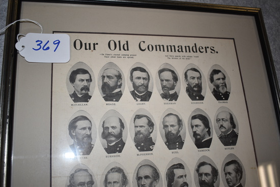 """""""Our Old Commanders"""".  Print of 36 portraits of various Union Generals"""