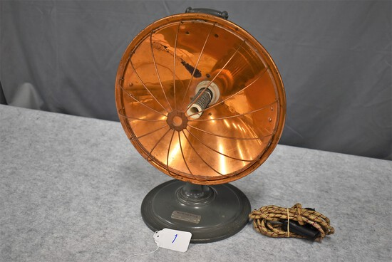 """Winchester – No. W-600 Caged Copper Room Heater w/Cord – 12½"""" Wide 16"""" High w/Gray Base (Excellent L"""