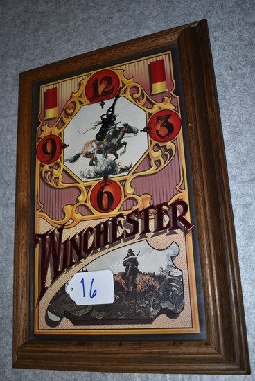 """Winchester – Battery Wall Clock Featuring Winchester Rider & Mountain Man Scene – 19"""" High, 13"""" Wide"""