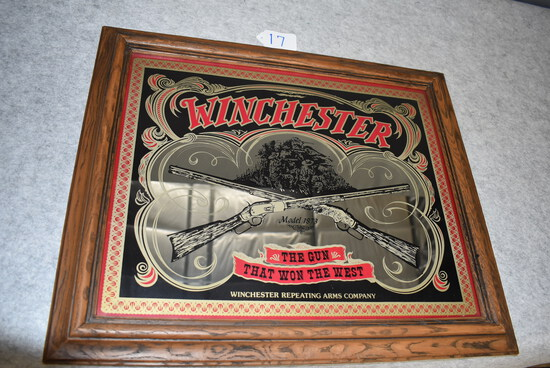 """Winchester – Wall Mirror Featuring """"The Gun That Won The West"""" (Model 1873) Winchester Repeating Arm"""