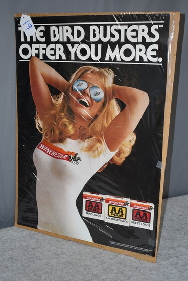 """Lot of 2 Winchester Promotional Posters – 1st is 1982 Olin """"The Bird Busters Offer You More"""" Winches"""