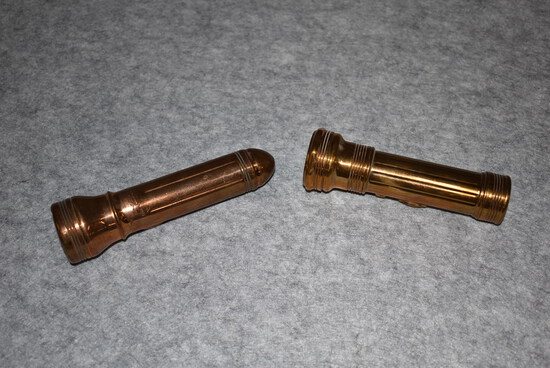 """Lot of 2 Winchester Flashlights – 1st is 5½"""" Two Cell """"Solid Bronze"""" Case Flashlight – 2nd is 6¼"""" No"""