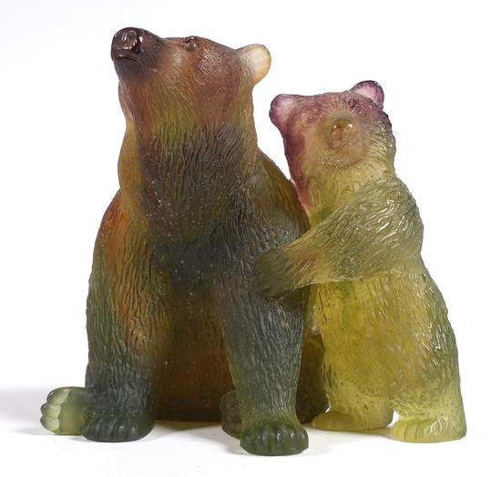 DAUM Pate de Verre Bear and Cub