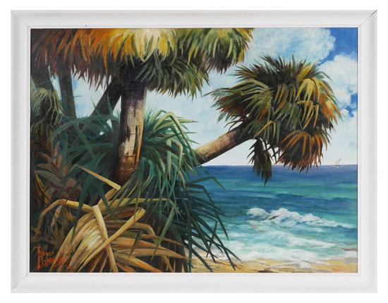 RENEE HARCOMBE, Miami Florida Beach Scene O/C