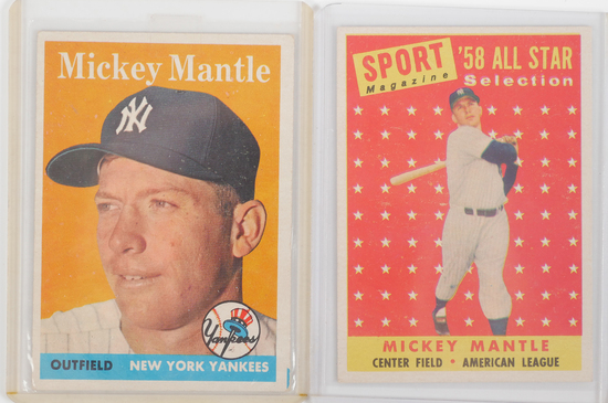 (2) 1958 Topps Mickey Mantle Baseball Cards