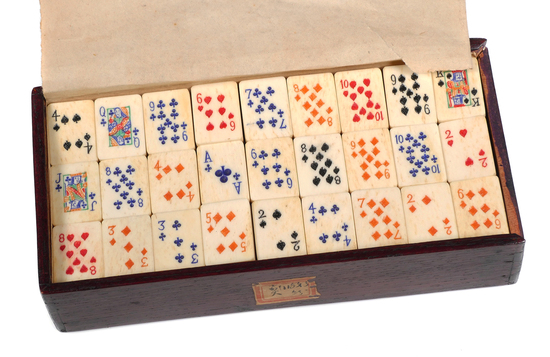 Antique Bone Mahjong Playing Card Tiles Set