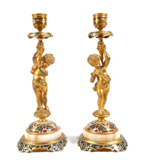 Pair of Champleve and Gilt Bronze Candlesticks