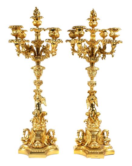 Pair of Gilt Bronze Figural Candelabra