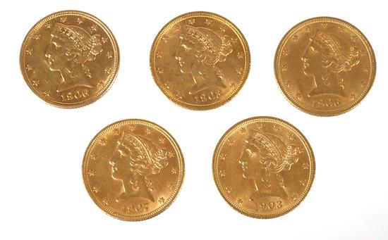 5 U.S. GOLD $5 Half Eagle Coins Liberty Head