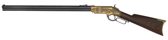 Deluxe Presentation Factory Hoggson Engraved Gilt Frame Henry Rifle