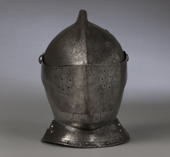 A Late 16th Century European Close Helmet with Gorget Circa 1590