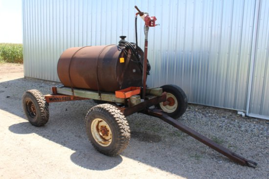 300 GALLON FUEL BARREL, 12 VOLT PUMP,