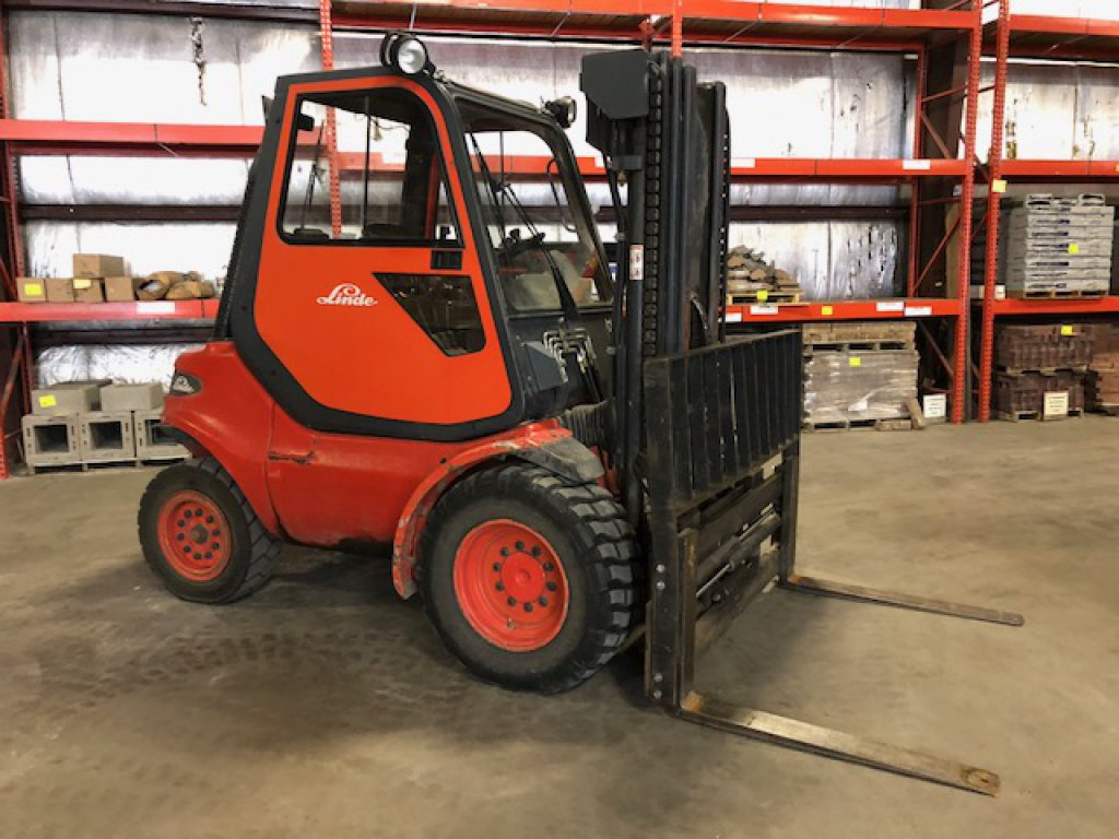 Linde model 130DG-04 forklift, off-road, diesel, 6000# capacity, enclosed c