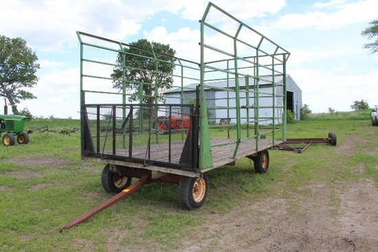 16' BALE THROW RACK, STEEL CAGE, ON GEAR