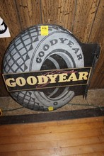 Goodyear Tire metal sign, flange