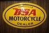 BSA Motorcycle Dealer sign, oval metal,