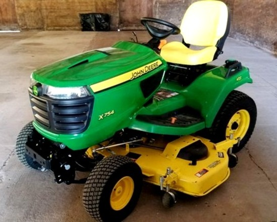 "JOHN DEERE X754 4 WHEEL STEER, 60"" DECK, DSL,"