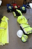 SAFETY EQUIPMENT, XL JACKETS, HARD HATS, GOGGLES,