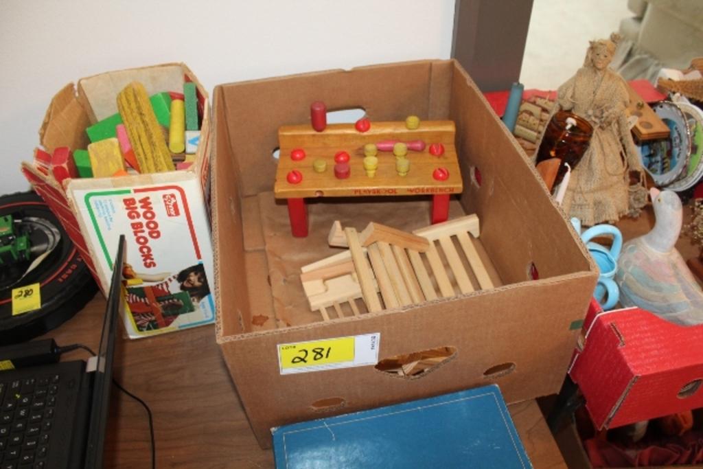 Lot Wood Big Blocks Playskool Workbench And Proxibid Auctions