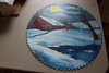 "15"" ROUND PAINTED WINTER SCENE SAW BLADE"
