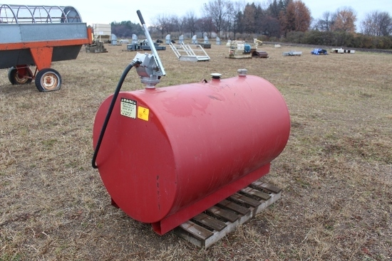 APPROX 300 GALLON FUEL BARREL WITH  HAND PUMP,