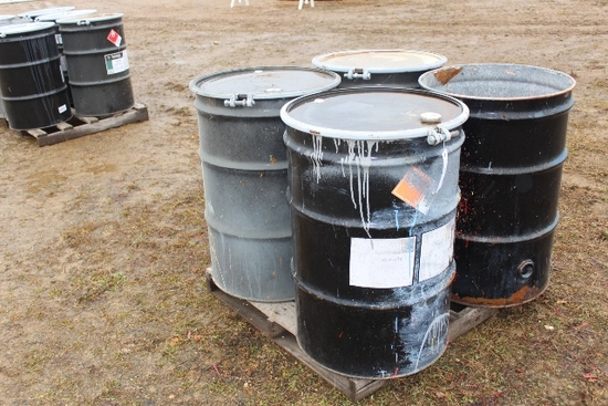 (4) EMPTY PAINT BARRELS, (3) WITH COVERS,