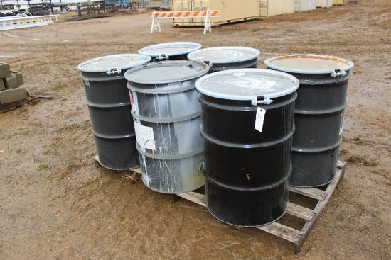 (6) EMPTY PAINT BARRELS WITH COVERS,