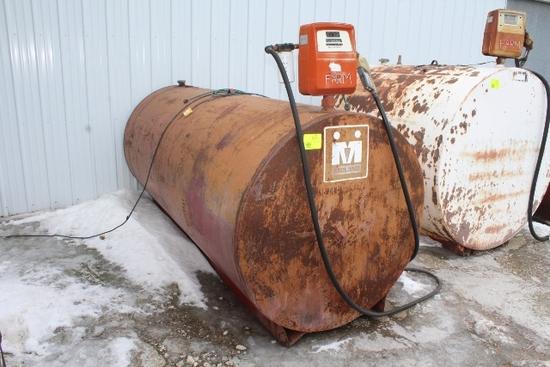 1000 GALLON DIESEL BARREL, GASBOY 110 VOLT PUMP