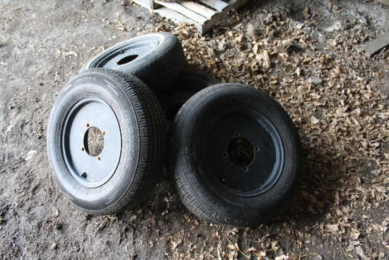 "SET OF(4) TIRES AND RIMS FOR 22"" ROWS,"