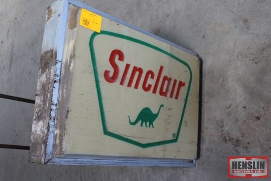 "26"" X 36""SINCLAIR PLASTIC SIGN WITH METAL HANGER,"