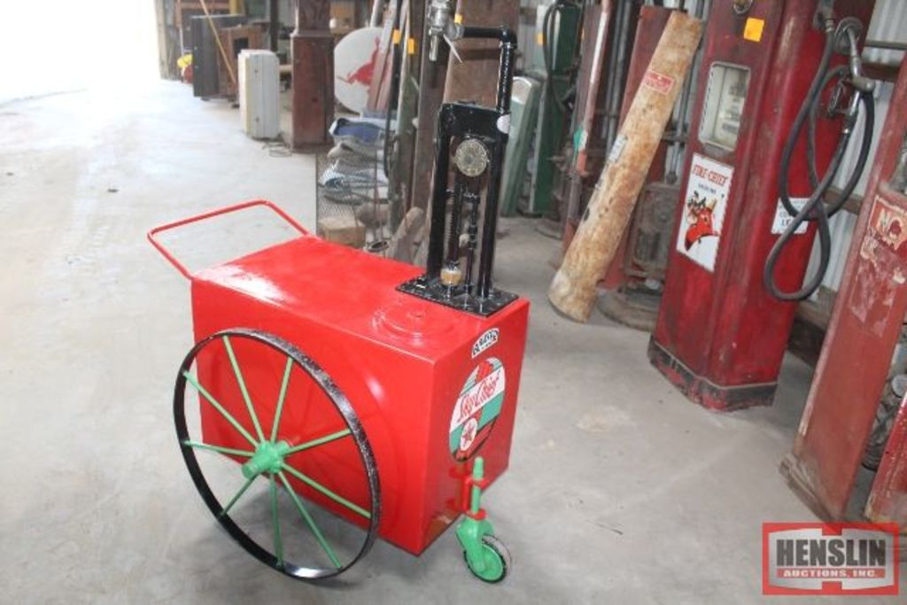 BOWSER TWO WHEEL OIL CADDY ON STEEL RIMS, HAS