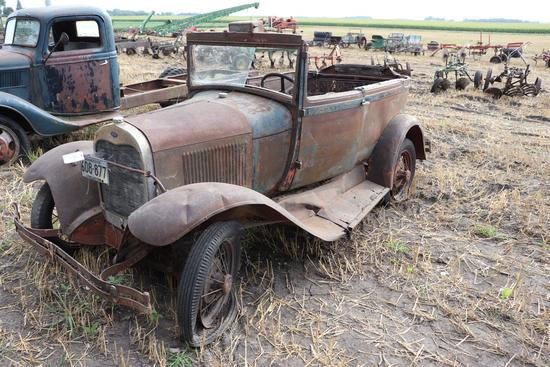 *** 1929 FORD MODEL A, SPOKE RIMS, CAB CUT OFF,