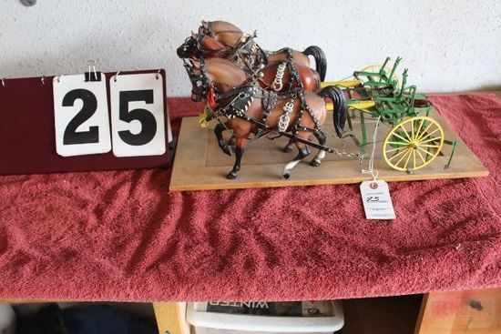 1/8 CUSTOM 2 ROW CULTIVATOR, WITH 3 BRYER HORSES,