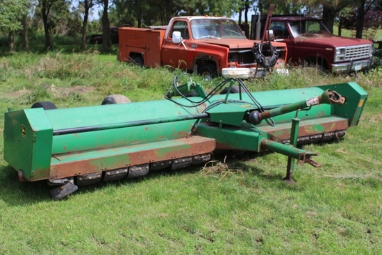 15' JOHN DEERE 27 STALK CHOPPER, (4) WHEELS,