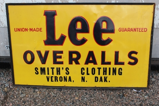 3' X 5' LEE OVERALLS SINGLE SIDED TIN SIGN,