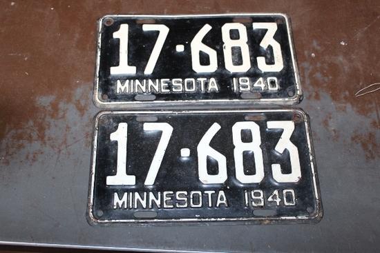 1940 LICENSE PLATES