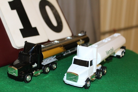 (2) 1/64 WHITE GMC SEMIS WITH TRAILERS,