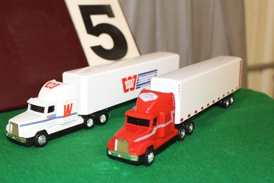 (2) 1/64 FREIGHTLINER SEMIS AND TRAILERS,