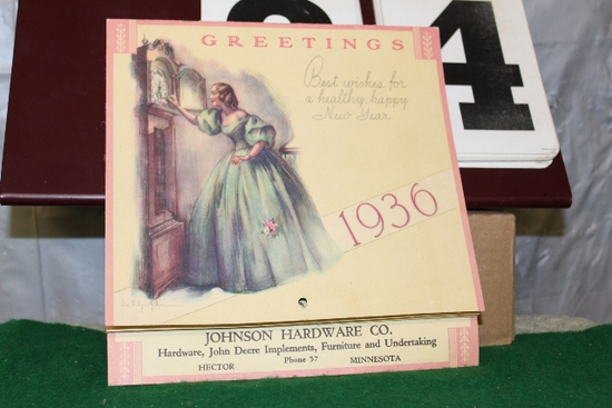 JOHNSON HARDWARE CO. 1936 CALENDAR