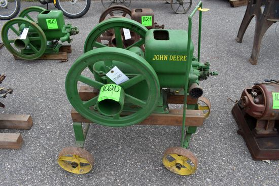 John Deere 1.5HP, Gas Engine, SN:244934, Spark Plug, Restored, On Cart,