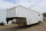 1997 8' x 40' United Tri-Axle Gooseneck Enclosed Trailer, Rear Ramp Door, A
