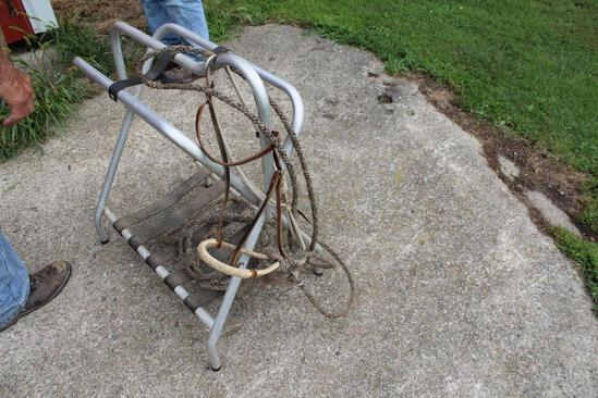 Hackamore With Braided Horsehair, Band And Rope, Solid Rawhide