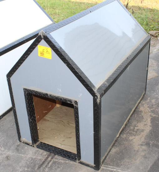 "BRAND NEW 4' LONG X 30"" WIDE GREY & BLACK DOG HOUSE, TAX"