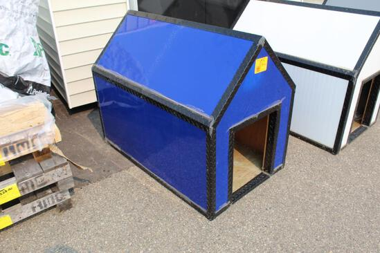 "BRAND NEW 4' LONG X 30"" WIDE BLUE & BLACK DOG HOUSE, TAX"