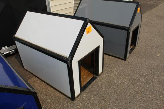 "BRAND NEW 4' LONG X 30"" WIDE WHITE & BLACK DOG HOUSE, TAX"
