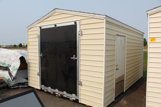 "BRAND NEW 10' X 14' SHED ON SKIDS, 66"" X 80"" TALL FRONT FOLD DOWN RAMP DOOR, TAN SHINGLES, LIGHT TAN"