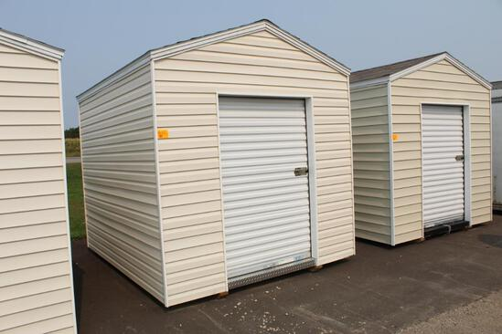 NEW 8' X 12' SHED ON SKIDS, W/ 4' X 6' ROLL UP DOOR, TAX