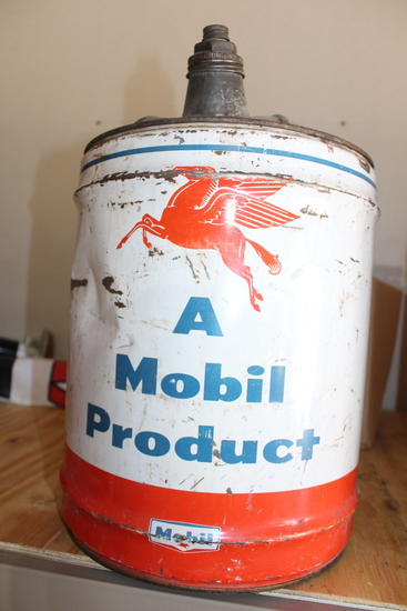 Mobil Oil Products 5gal can, has rust