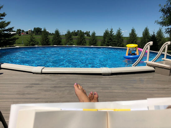 "ABOVE GROUND POOL AND DECK, 54"" DEEP,"