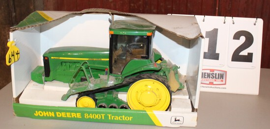 JOHN DEERE 8400 TRACTOR 1/16TH SCALE TOY IN A BOX,  BOX HAS WATER DAMAGE